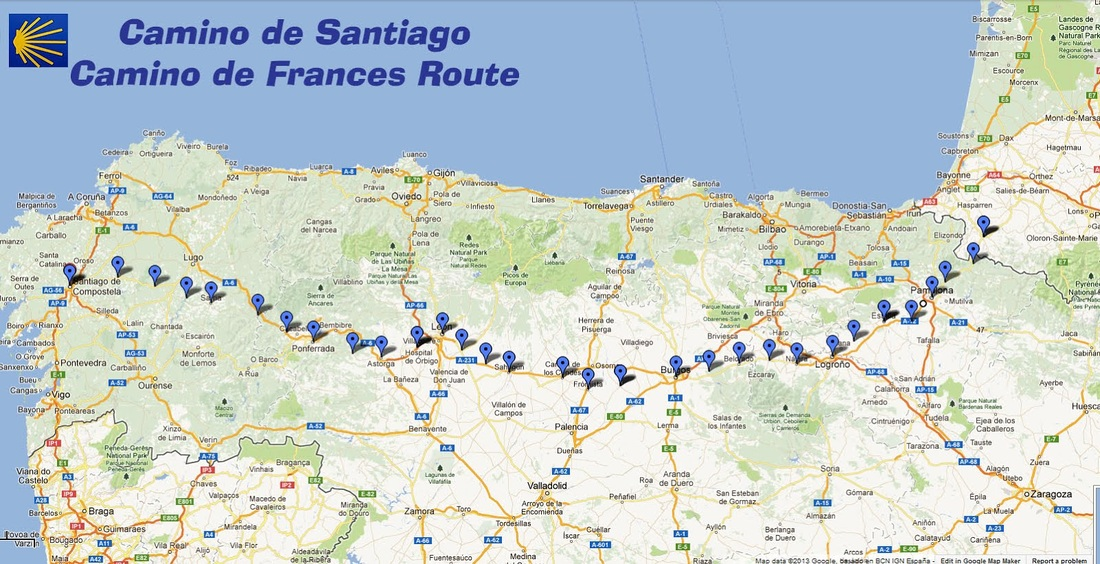 Map Of Camino De Santiago Map of Camino Frances   Lin's Camino de Santiago pilgrimage Map Of Camino De Santiago